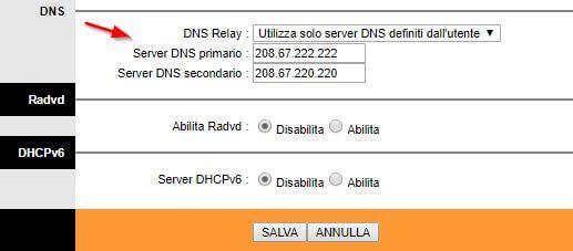 impostare OpenDNS su router