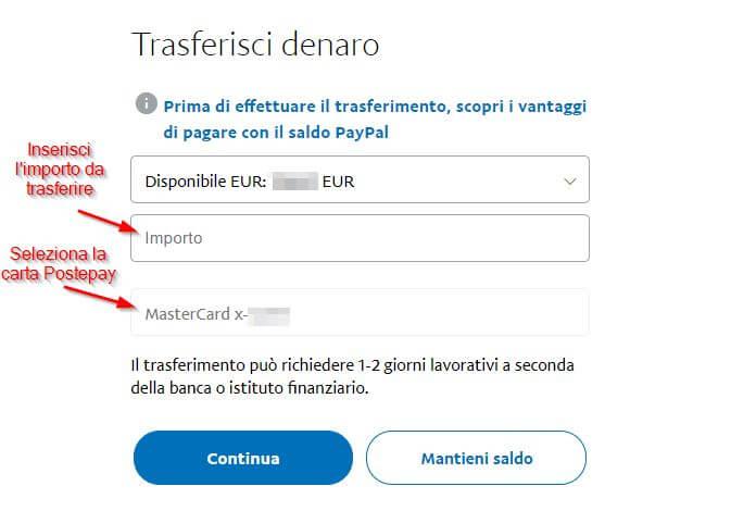 trasferimento soldi da Paypal a Postepay