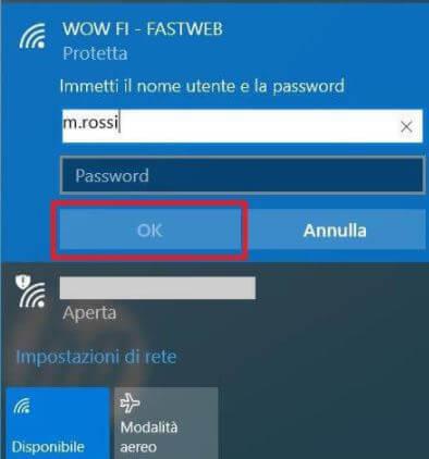 rete fastweb navigazione gratuita con wow fi