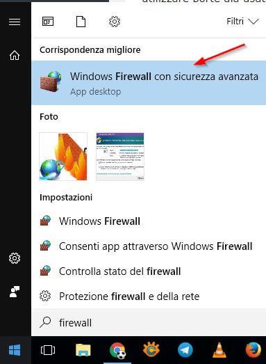 modificare regole firewall windows