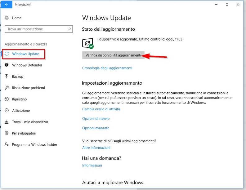 aggiornare il pc con windows 10