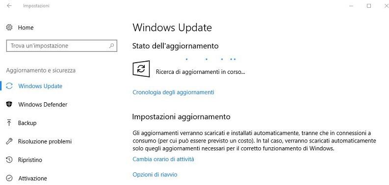 windows update su windows 10