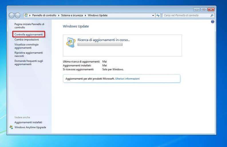 aggiornare pc con windows