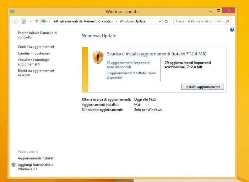 come aggiornare il pc e scaricare aggiornamenti windows