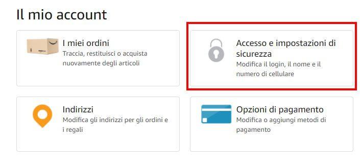 Accesso e impostazioni di sicurezza amazon