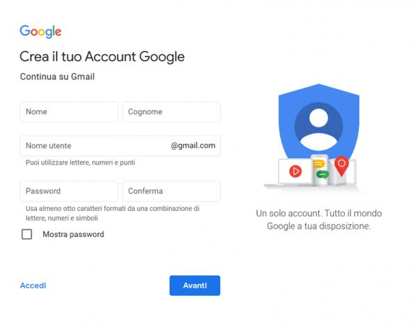 creare indirizzo gmail