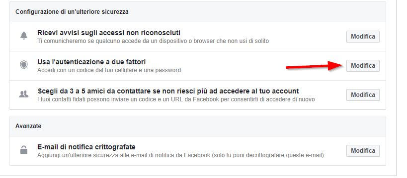 configurazione di sicurezza facebook