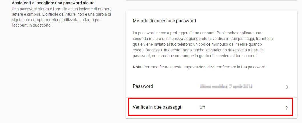 accesso e sicurezza google