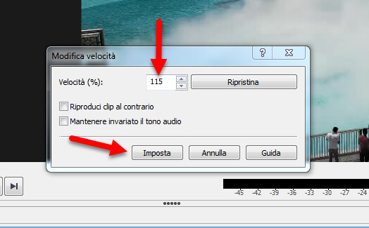 imposta velocita video videopad