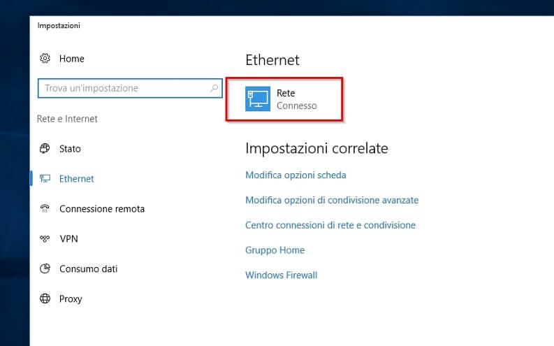 indirizzo ip privato windows 10