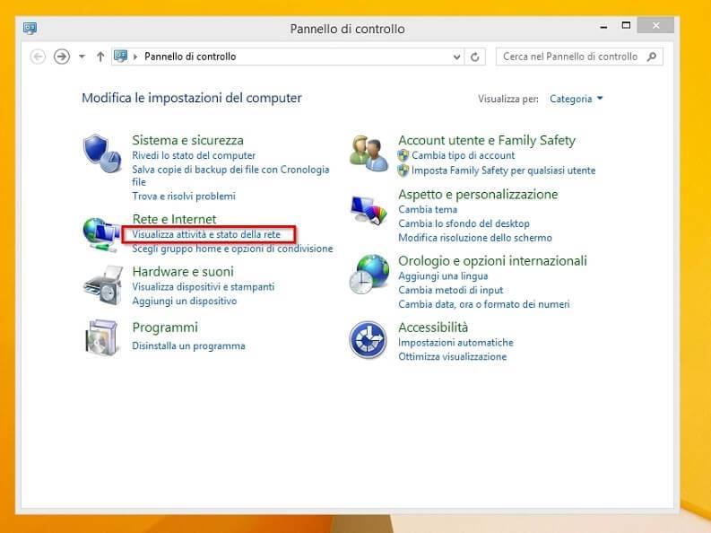 indirizzo ip privato windows 8