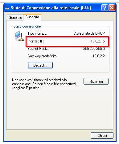 indirizzo ip privato windows xp