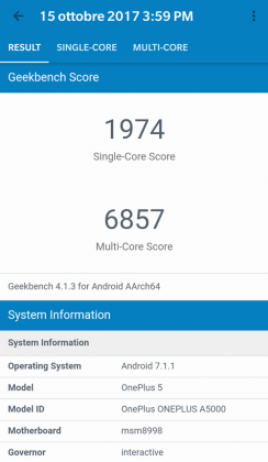 oneplus 5 benchmark geekbench record