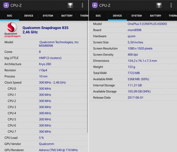 oneplus 5 cpu-z caratteristiche