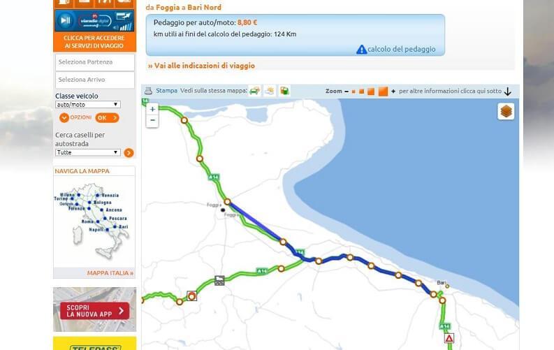 Informazioni pedaggio Autostrade tramite browser