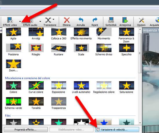 variazione velocità video videopad
