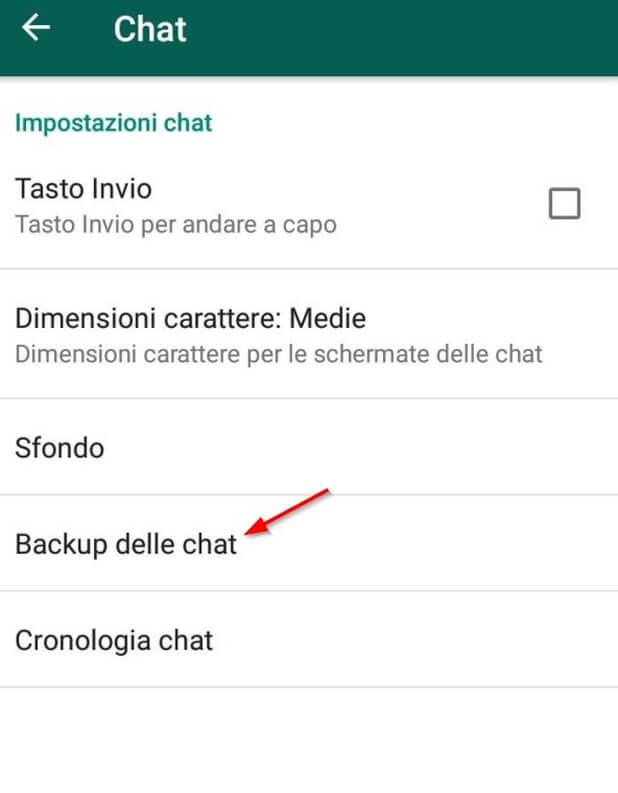 backup delle chat di whatsapp