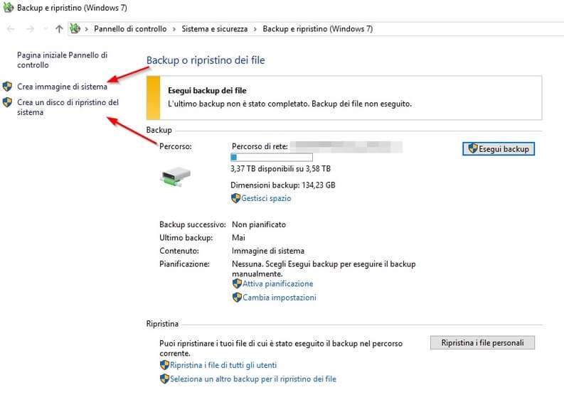 Backup e ripristino file su Windows 10