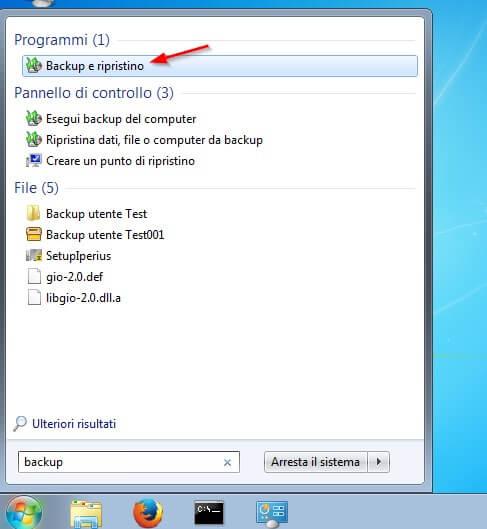 il backup di windows 7