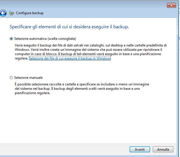 Backup di windows