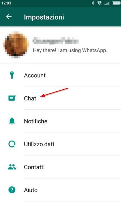impostazioni whatsapp