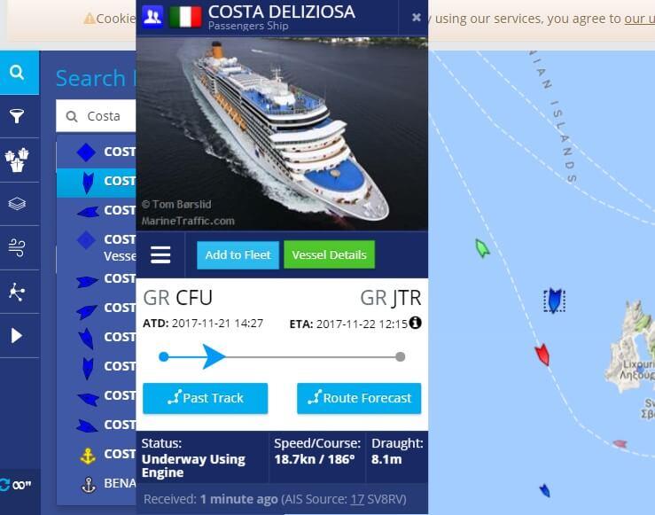 navigazione nave MarineTraffic