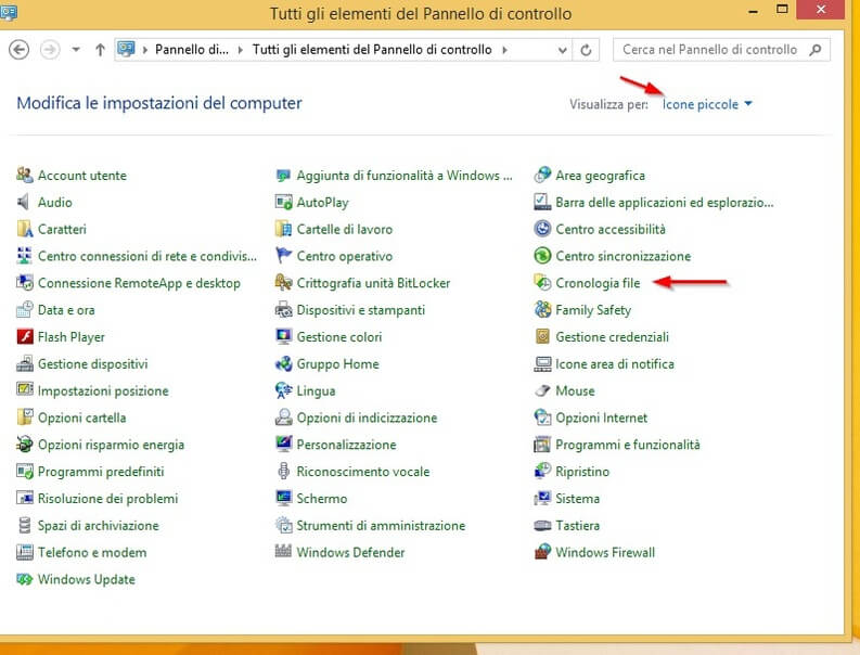 cronologia file di windows 8.1