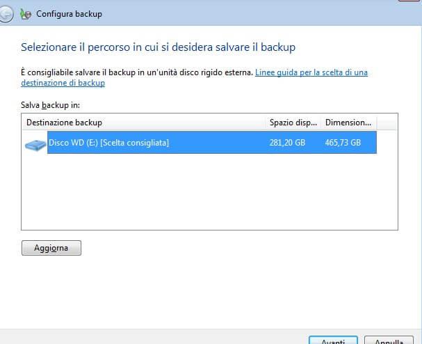 il backup di windows 7 parte 3