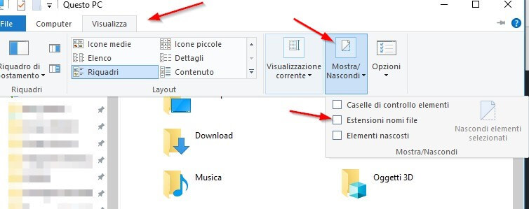 Come visualizzare estensioni nomi file su windows 10