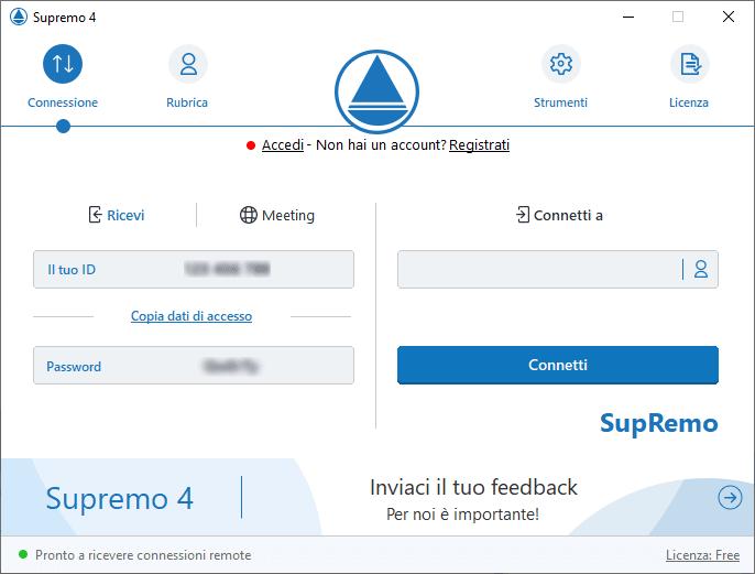 Interfaccia Supremo Remote Desktop