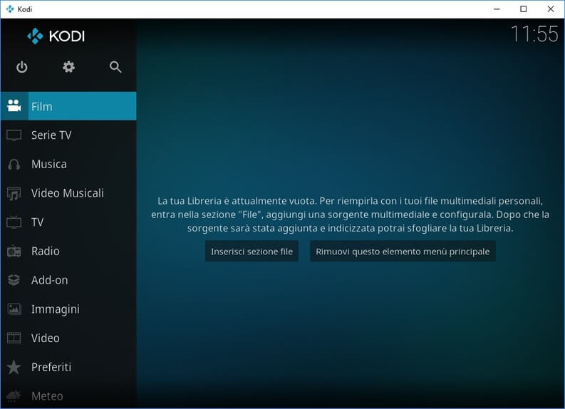 interfaccia Kodi in italiano