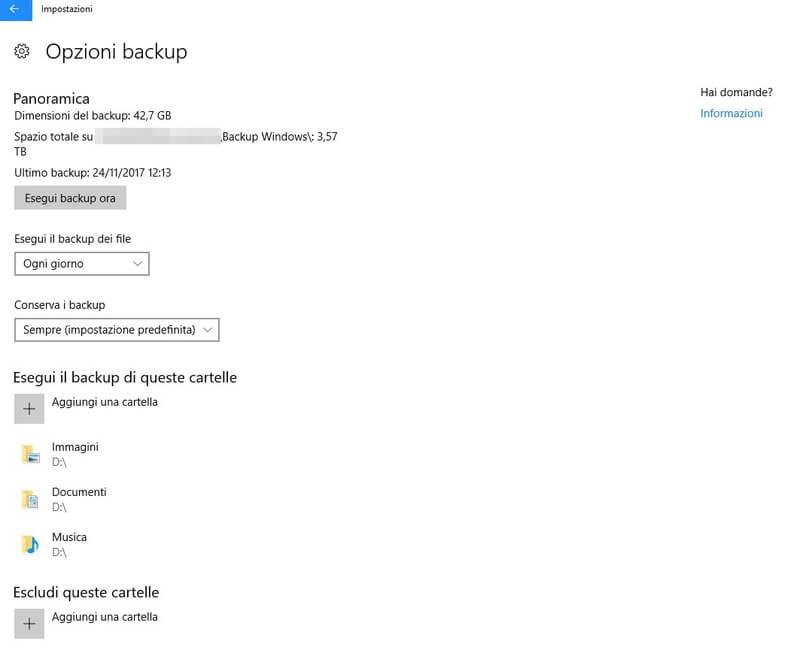 Backup di windows