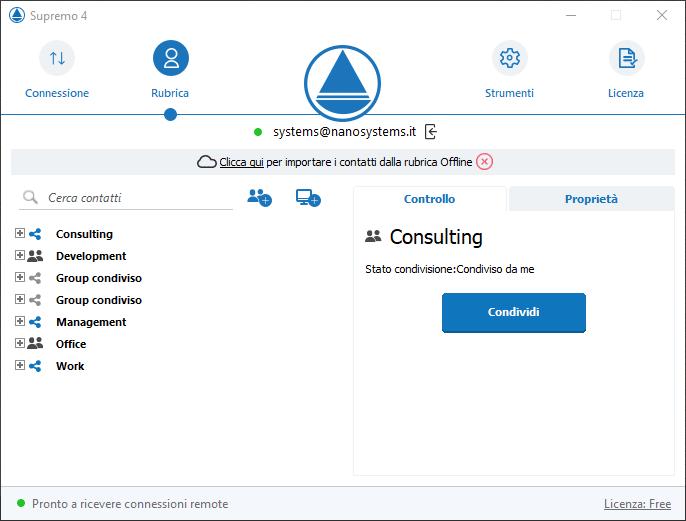Rubrica condivisione contatti
