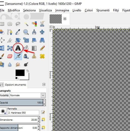 creare immagine con testo GIMP