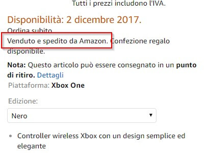 Venduto e spedito amazon