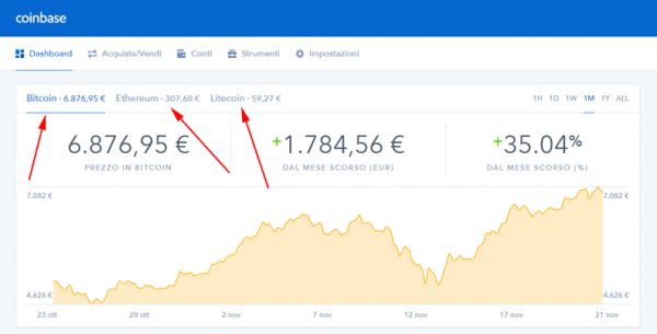 interfaccia coinbase