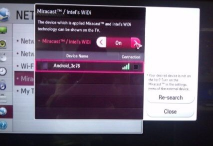 menu wifi tv miracast