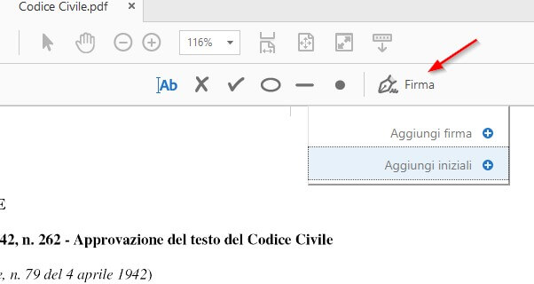 Aggiungi firma Adobe PDF
