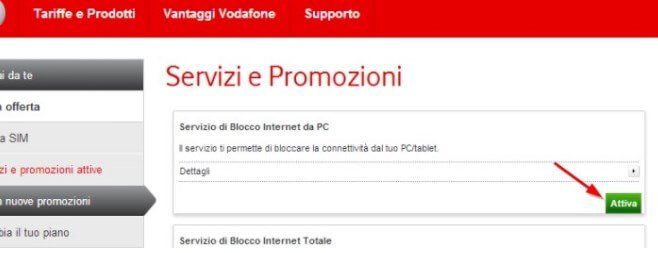 Blocco tethering Vodafone