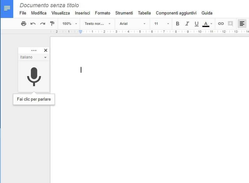Dettatura vocale documento