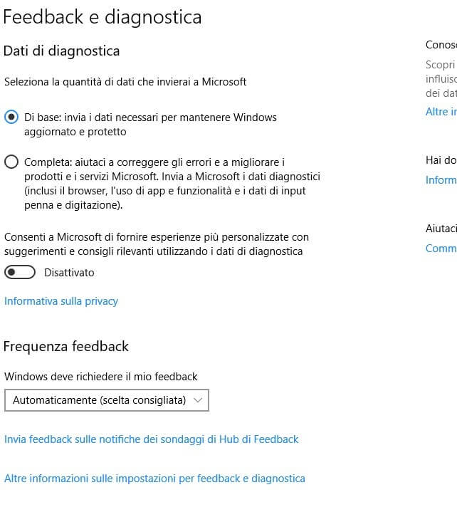 Feedback e diagnostica windows 10