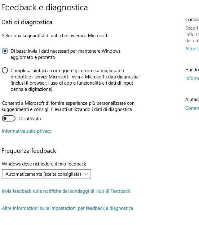Feedback e diagnostica windows 10