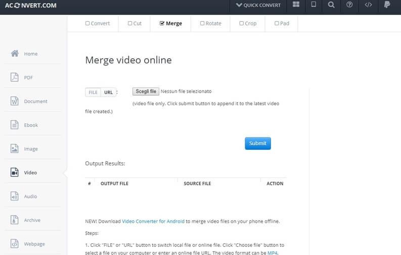 come unire due video online con merge video