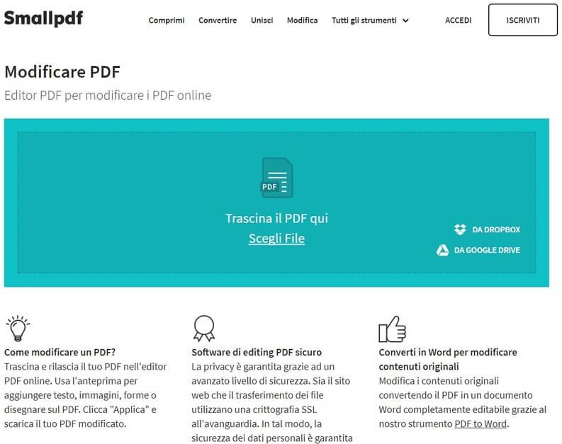Modificare PDF con SmallPDF