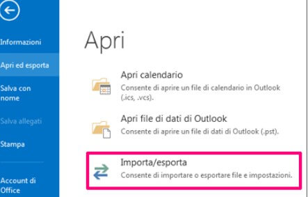 Outlook esporta email