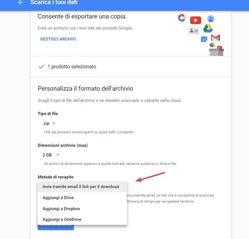 Scaricare backup gmail