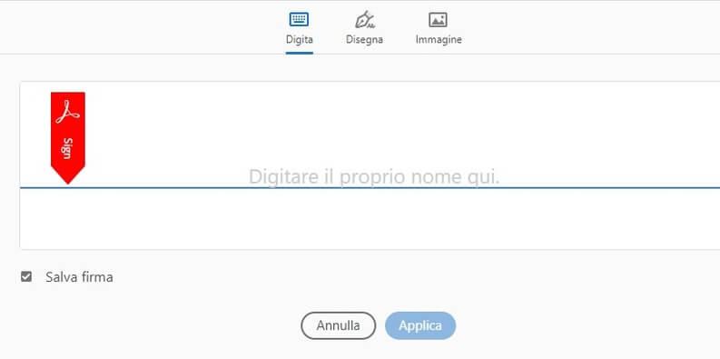 Strumenti per firma Adobe PDF