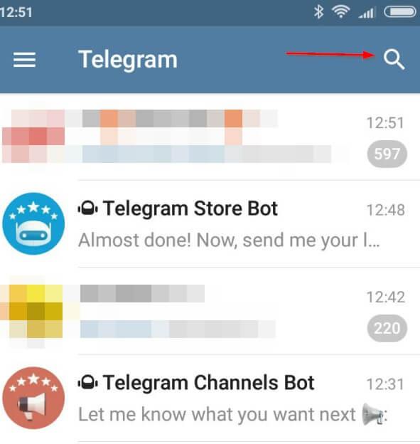 Telegram ricerca interfaccia android
