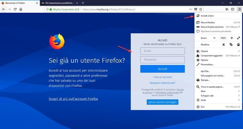Accedi a Firefox Sync
