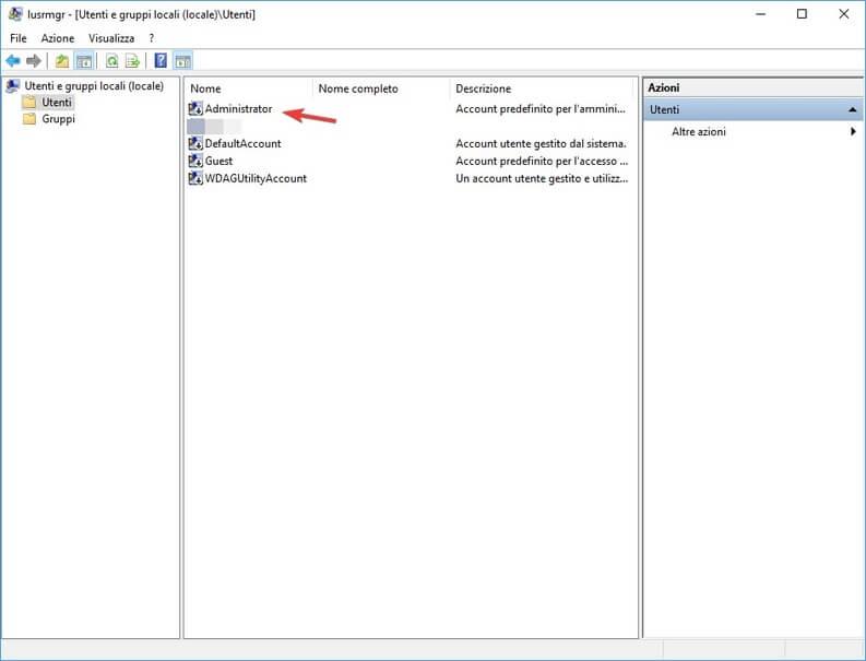 Account administrator da gestione utenti proprietà